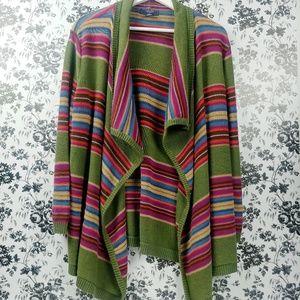 Chaps Mexican blanket linen blend open cardigan XL